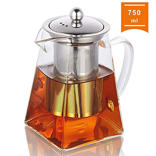 Glass Teapot with Infuser 750ml/264oz Clear High Borosilicate Glass Tea Pot with Removable Tea Strainers for Loose Leaf Tea Heat Resistant Loose Leaf Teapot Microwavable and Stovetop Safe
