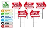 Home For Sale Sign Kit 5 pack Die Cut Arrow Shape HD Stands, Durable Corrugated Coroplast, UV Colorfast Ink, Unconditional Guarantee, Made in USA, Real Estate Agent Supplies, 5-18x24 Signs & 5 Stands