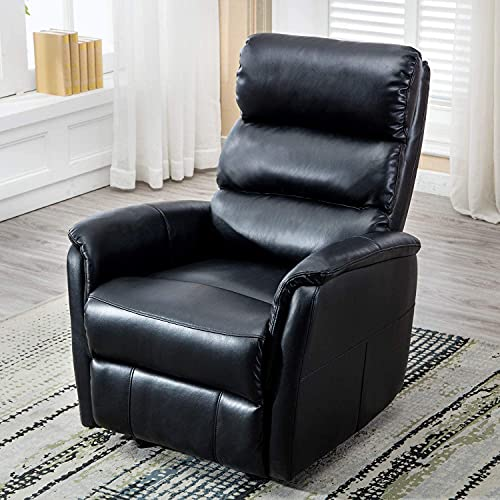 Bonzy Home Rocker Recliner Chair, PU Leather Glider Recliner Chair, Heavy Duty Home Theater Seating, Fashion Bedroom Sofa (Black)