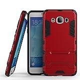 Funda Galaxy J5 (2016), CHcase 2in1 Armadura Combinación A Prueba de Choques Heavy Duty Escudo Cáscara Dura PC + Suave TPU Silicona Case Cover con soporte para Samsung Galaxy J5 (2016) -Red Armatura