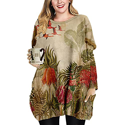 Vestido Suelto hasta la Rodilla para Mujer Primavera Otoño Invierno Manga Larga Cuello Redondo Sudadera con Capucha Estampado 3D Camiseta Informal Tops para el hogar S