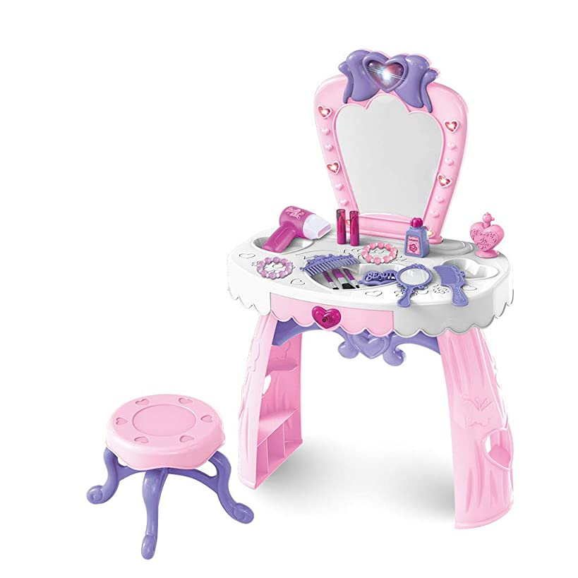 LONGZUYS Play Pretend Kids Vanity Table Kits, Toddler Fantasy Vanity Beauty Dresser Table Play Set Include Hand Mirror, Hair Dryer, Brush, Comb Toys for 2,3,4 yrs Kids (23Pcs Kids Vanity Table Kits)