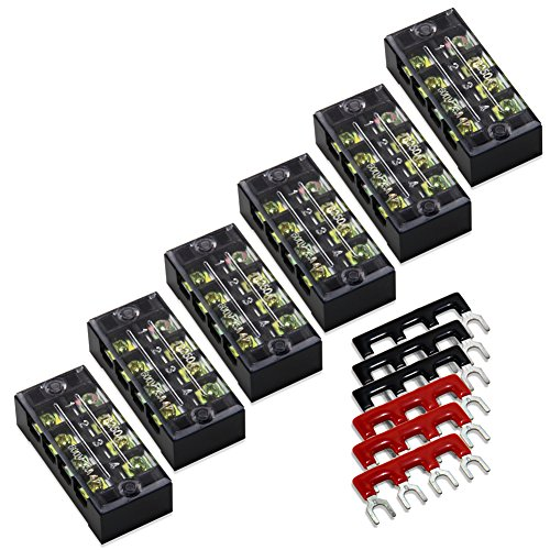 12pcs (6 Sets) 4 Positions Dual Row 600V 25A Screw Terminal Strip Blocks with Cover + 400V 25A 4 Positions Pre-Insulated Terminals Barrier Strip Black & Red by MILAPEAK