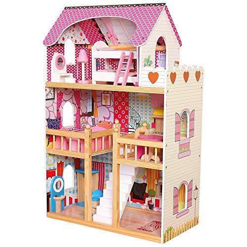 Bino 83554 Grande Maison avec 3 étages, Meuble et escalier, Maison de Jeu colorée en Bois pour Enfants à partir de 3 Ans, Dimensions : 90 x 20 x 60 cm, Multicolore