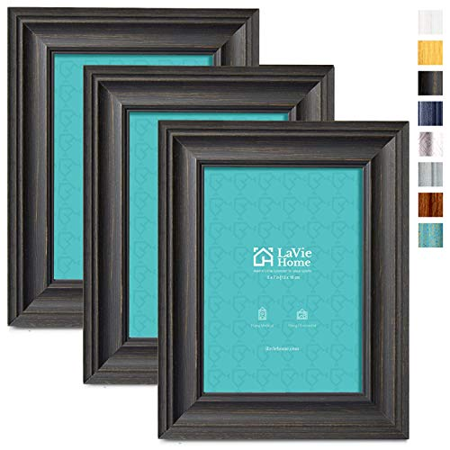LaVie Home 5x7 Picture Frames (3 Pack, Black Wood Grain) Rustic Photo Frame Set with High Definition Glass for Wall Mount & Table Top Display