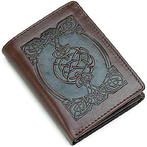 Lee River Leather Wallet Celtic Design, Tri-Fold, Brown - Irish Made Premium Leather Goods
