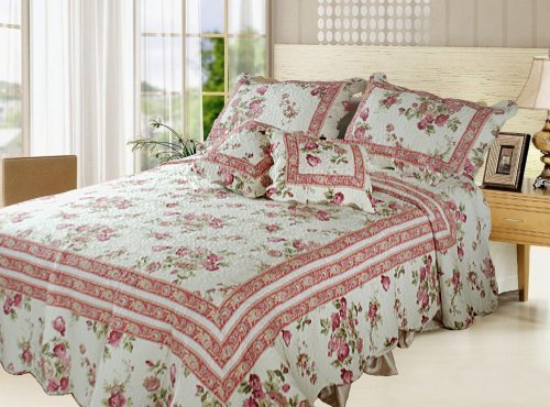 DaDa Bedding DXJ103136 French Country Cotton 5-Piece Quilt Set, Queen, Floral by DaDa Bedding Collection, Inc.