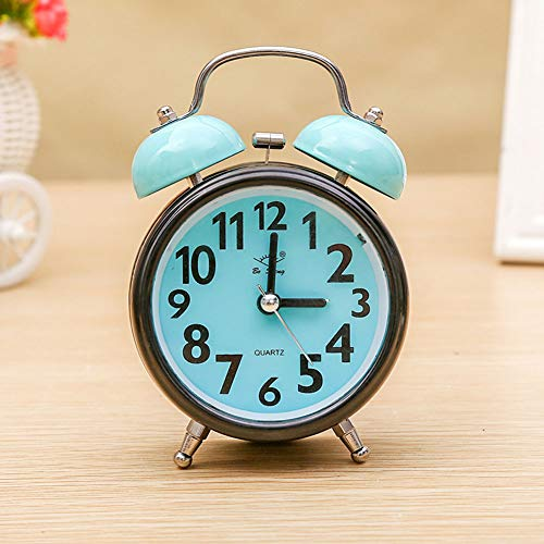 XNZ Analog Alarm Clock, Mini Non Ticking Bedside Travel Silent Alarm Clock with Loud Alarm, Night Light, Snooze, Battery Operated Wake Up Clock Colorful