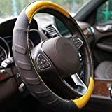 HUILI Steering Wheel Cover, Yellow Carbon Fiber and Black Leather Car Wheel Cover for Men Women 15 in Breathable Massage Grip, Suitable for Jeep, Chevy, Ford, Yellow