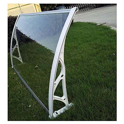 LRZLZY Rain Snow Curved Awning For Outdoor Patio Furniture Protect Doorway, 2.7mm Transparent/gray Bracket (Size : 80CMX100CM)