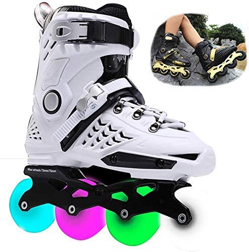 miwaimao LED-Inlineskates mit Blinklicht für Kinder, einreihige Rollschuhe, professionelle Inline-Skating-Schuhe, Anfänger, Sport, Outdoor, Freizeit, Fitness, für Jungen, lila - 43, weiß, 39