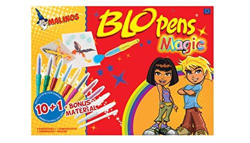 MALINOS Blo Pens Magic 10+1 Pustestifte Blopens Zauberstifte Airbrush Schablonen