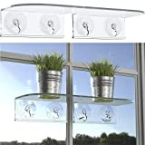 Double Veg Ledge Suction Cup Window Shelf – Create an indoor garden, hold your planter pots, seed starter, figurines on your...
