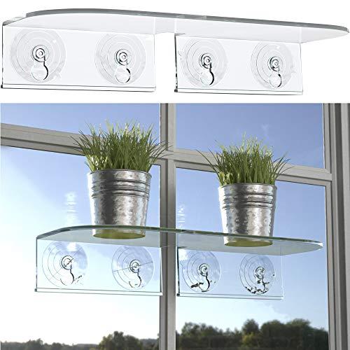 Window Garden Double Veg Ledge– Window Shelf for Plants. Low Profile, Quality Acrylic. Large...