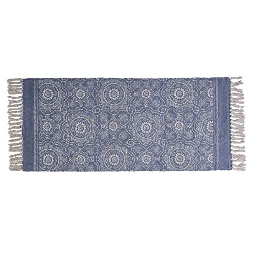 SHACOS Flachgewebe Teppich Baumwolle Terrassen Teppiche Blau Waschbar Teppich Bedruckt Retro Vintage Teppiche für Wohnzimmer Küche Dekor 60 x 130cm