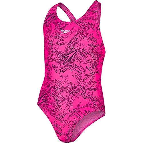 Speedo Boom Allover Splashback, Costume da Bagno Bambina, Multicolore (Electric Pink/Black), 5-6 Anni