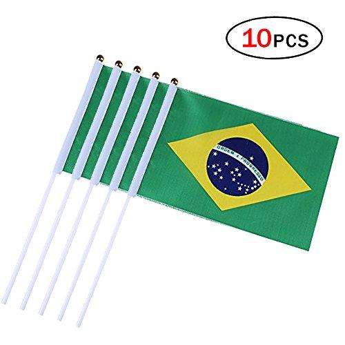 CDKJ 10pcs Flaggen internationalen 14 * 21 cm Wimpelkette Flagge Anhänger verschiedenen Ländern National Flags Deko Club Bar Brasilien