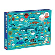 """Mudpuppy Ocean Life Puzzle, 1,000 Pieces, 27""""x20"""" – Perfect for Ages 8-99+ - Great Family Puzzle to Enjoy Together – Colorful Illustrations of Fish, Sharks and Ocean Life - Makes a Great Gift"""