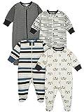Onesies Brand Baby Boys' 4-Pack Sleep 'N Play Footie, Tiger Orange, 6-9 Months