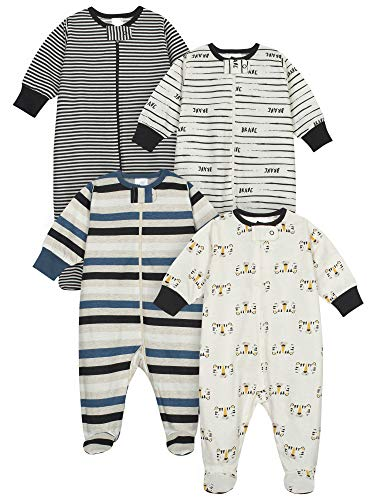 Onesies Brand Baby Boys' 4-Pack Sleep 'N Play Footie, Tiger Orange, 0-3 Months