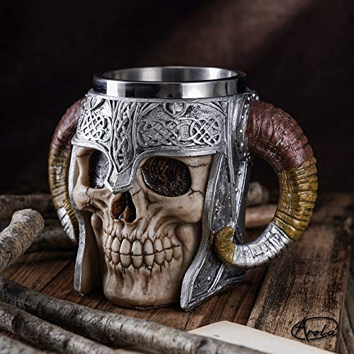Stainless Steel Double Handle Horn Skull Beer Cup image