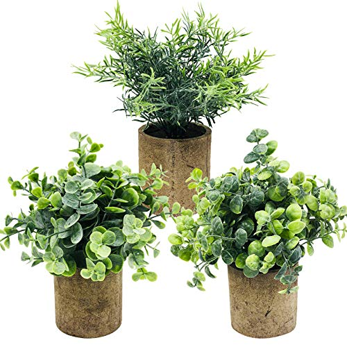 VINFUTUR 3pcs Plantas Artificiales Decorativas con Maceta Hierbas Flasas...
