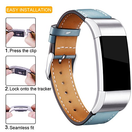 For Fitbit Charge 2 Replacement Bands, Hotodeal Classic Genuine Leather Wristband With Metal Connectors, Fitness Strap for Charge 2, Stone Blue