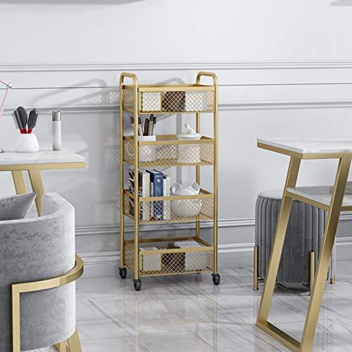 Zony 3/4-Regal Metall und Tray Bar, Küche, Mehrzweckwagen, Küche Rolling Bar Cart mit Rädern-Gold (Color : Gold, Size : Four Floors)