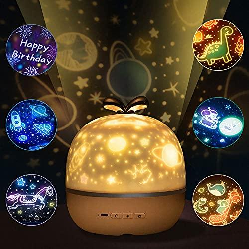 Punvot Lampada Proiettore Bambini, Proiettore Stelle Bambini Luce Notturna Bambini, Proiettore Stelle soffitto Bambini 360°Rotazione 6 Modalità,Regali Natale Compleanno Halloween Valentino per Adulto