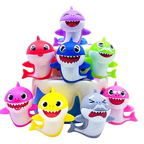 Decoración para tarta de tiburón, 8 piezas de decoración para tarta de cumpleaños de tiburón con colores brillantes, decoración para tartas familiares de tiburones pequeños para tartas temáticas de ti