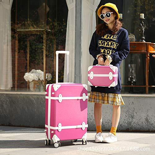 Huiran Ruota universale per bagagli 24 pollici piccola valigetta trolley femminile studente universitario retro valigia password scatola imbarco scatola-rosa Red_24 pollici