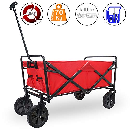 Firenze Faltbarer Bollerwagen Transportwagen Handwagen Rot/Blau (Rot)