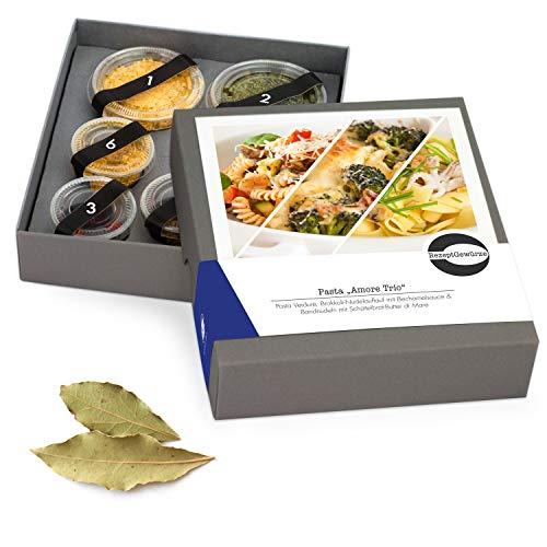"""Gewürze Geschenkset """"Pasta Amore Trio"""" – 3 Pastagerichte zum selbst Kochen – Gewürzbox Geschenk inkl. Kochanleitung und Rezept – mit exotischen und BIO Gewürzen"""