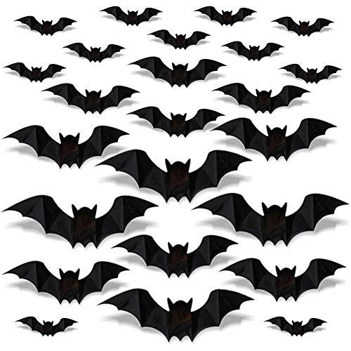 YANGTE JINLE 96 Pcs Halloween 3D Bats Stickers, Black Plastic Scary Bats Wall Bat Decals for DIY Home Window Decor Halloween Party Supplies