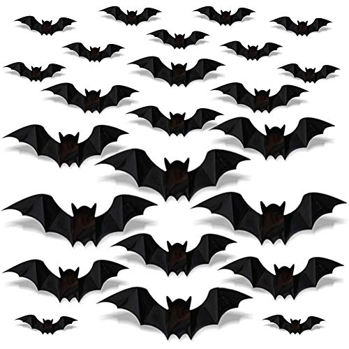 JINLE 96 Pcs Halloween 3D Bats Stickers, Black Plastic Scary Bats Wall Bat Decals for DIY Home Window Decor Halloween Party Supplies
