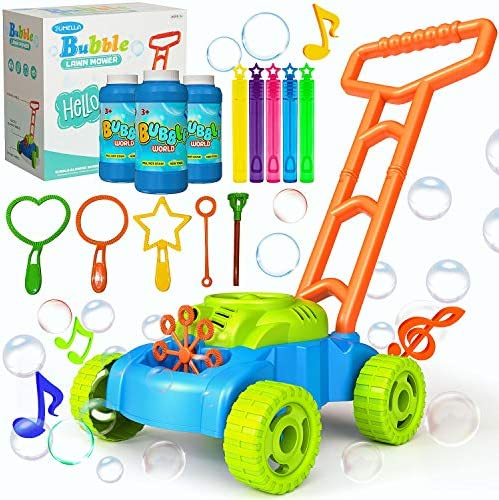 JUMELLA Lawn Mower Bubble Machine for Kids – Automatic Bubble Mower with Music, Baby Activity Walker for Outdoor, Push Toys for Toddler, Christmas Birthday Gifts for Preschool Boys Girls 2-6 Years Old