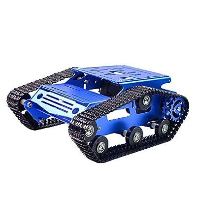 KOOKYE Tank Smart Car Platform 2WD Metal Stainless Steel Chassis Speed Encoder Motor 9V with Crawler for Arduino Raspberry Pi DIY
