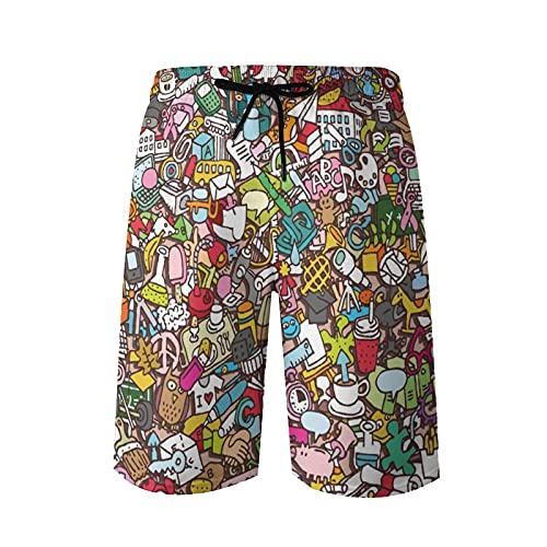 QUEMIN Traje de baño para Hombre, patrón Escolar con Dibujos de garabatos en Miniatura Pantalones Cortos de Playa de Secado rápido con Forro de Malla Traje de baño Trajes de baño M