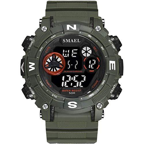 Deporte Digital reloj de los hombres al aire libre de múltiples funciones de visualización analógica a prueba de agua reloj de pulsera resistente a la luz de fondo LED 50M fengong ( Color : Green )