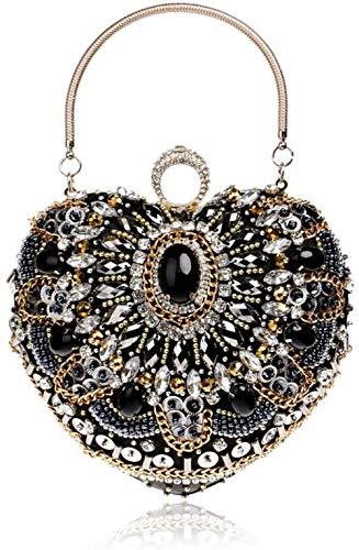 Women's Diamond Evening Bag Joker Toga banket van het Huwelijk Bridal Koppelingen Bags Chain Shoulder Messenger Bag Tote Beautiful Life Black), Kleur: Zwart (Color : Black)
