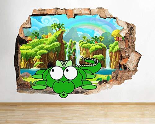 HQSM Pegatinas de pared pez cascada niños niños pared rota calcomanía 3D arte pegatinas vinilo habitación