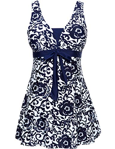 Wantdo Women's Push Up Swimsuit Tankini Matching Swimwear Beachwear Navy US 12-14