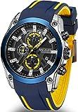 MEGIR Relógio Masculino Esportivo Militar de Quartzo Luxo Cronógrafo Função Luminoso Calendário à Prova D'agua com Azul Moda Pulseira de Silicone