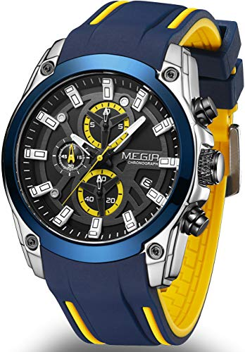 MEGIR Men's Sport Quartz Watches with Chronograph Luminous Auto Calendar with Fashion Silicone Strap ML2144