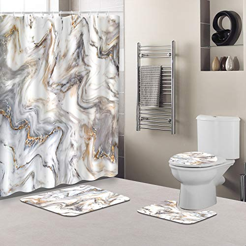 Marble Ink Texture Shower Curtain Sets with Non-Slip Rugs, Toilet Lid Cover and Bath Mat, Waterproof Abstract Shower Curtain with Standard Size 72 by 72 (White)