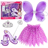 Little Girls Princess Fairy Costume Set Trunk with Wings Shoes Tiara Wand and Tutu for Kids Dress Up Party (Purple)