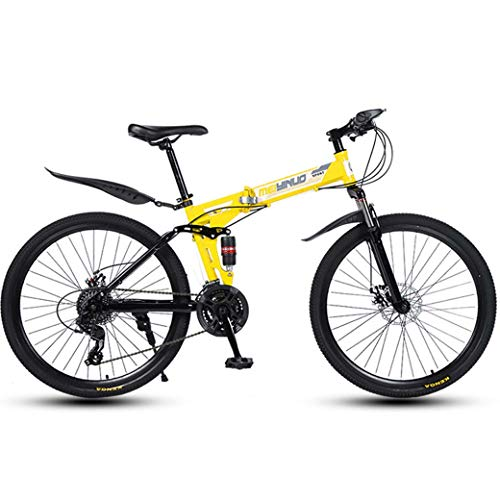 "ZTYD 26"" 21-Speed Mountain Bike for Adult, Lightweight Aluminum Full Suspension Frame, Suspension Fork, Disc Brake,Yellow,A"