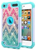 iPod Touch 7 Case, iPod Touch 5/6 Case for Girls, NageBee Glitter Diamond Hybrid Protective Studded Rhinestone Armor Cover Sparkle Cute Shockproof Case for iPod Touch 7th/6th/5th Generation -Wave