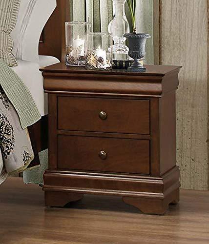 Benzara BM181832 Wooden Nightstand with Hidden Drawer, Cherry Brown