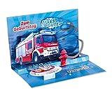 3D Pop – UP Karte Geburtstag, Feuerwehr, Geburtstagskarte 3D, POP - UP Karten, POP UP Karten Geburtstag, Geburtstagskarte lustig, Motiv: Feuerwehr